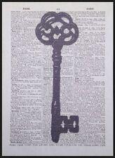 Vintage Squelette Clef Imprimé Dictionary Page Art Mural Image Industriel