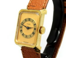 RETRO Vintage Ladies 1970's Roman Numeral TIMEX Gold Toned 18K GP Winding Watch
