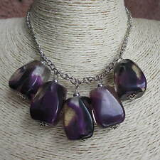 1 x Lovely Big Chunky Style Bead Necklace In Purple Choker UK Seller Free Post