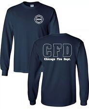 Chicago Fire Show Long Sleeve NAVY TV Show Fire Department T-shirt Duty Shirt