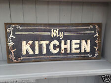 Shabby Rustic Chic Style Canvas Wall Plaque MY KITCHEN Hessian Picture Print