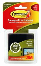 3M Command Medium Picture-Hanging Strips, Black, Pack of 12