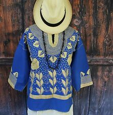 Royal Blue & Beige Corn Motif Hand Embroidery Blouse Mexican Hippie Boho Cowgirl