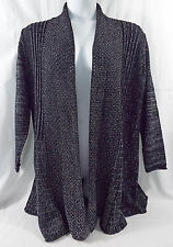 Women's Plus Size Fan Tailed Cardigan 1X Studio Works in Black & Silver Metallic