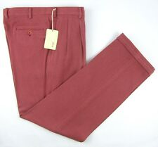 New BRIONI Italy Cortina Silk Cotton Burgundy Twill Dress Pants 50 34 NWT