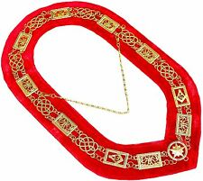 REGALIA MASONIC GRAND LODGE METAL GOLD CHAIN COLLAR RED VELVET  DMR100GR