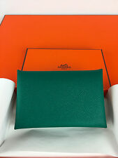 HERMES Calvi Card Case Wallet Epsom Green Malachite