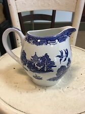 Vintage Alfred Meakin Old Willow Pattern Blue White LARGE Water Jug Pitcher Rare