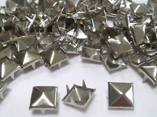 100 SILVER 7mm Square Pyramid Punk, Rock Leather Bag Shoe Studs CRAFT Biker Goth