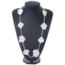 Long White Floral Crochet, Glass Bead Necklace - 96cm Length