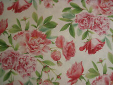 "ZOFFANY CURTAIN FABRIC DESIGN ""Phoebe""  100% LINEN PEONY & LEAF 2 METRES"