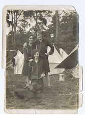 GODSHILL Hants Girls Camping with Pet Dog - Vintage Photograph 1929