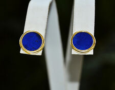 Vintage Estate A+ LAPIS LAZULI 14k 585 Gold Stud EARRINGS  10mm