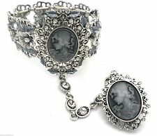 Women's Cameo Bracelet w Attached Adjustable Crystal Cameo Ring Slave
