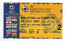 Orig.ticket     AFC - Asian Cup 2007    MALAYSIA - CHINA  !!   RARE