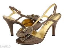 NINE WEST Bronze Satin CRYSTALS slingback heels JOVIAL sandals Sz 8 M NWT!