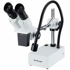 20X Widefield Stereo Microscope with Boom Arm Stand and LED Incident Light