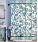Peri HENLEY Cotton Fabric Shower Curtain Floral Pattern Green, Blue, Yellow on