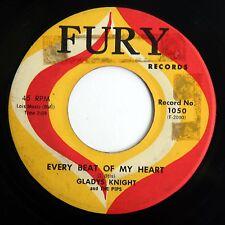 HEAR Gladys Knight 45 Every Beat/Room In My Heart FURY 1050 EX soul R&B mod