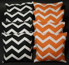 CORNHOLE BEAN BAGS Chevron Black & Orange 8 ACA Bags Tennessee Oregon Bengals