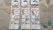 Pack of 3 - 3D Christmas sticker Card Gift Craft Scrapbooking Stocking Snowman