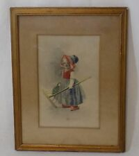 Antique Framed Hand Colored Advertising Print Dutch Girl with Rake - Ullman Mfg.