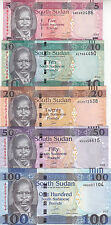 SOUTH SUDAN 5 10 20 50 100 POUND 2015 2016 P- new UNC SET */*