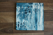 Small square abstract seascape acrylic painting - teal turquoise shades & white