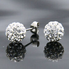 Clear  Sparkle Round Czech Crystal Disco Ball Stud Earrings Wedding Party