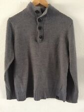 George Grey Jumper Knitted Knit Top Button Neck Size S  R2692
