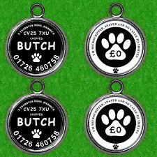 "2 X DOUBLE SIDED DOG NAME TAG ID IDENTITY DISC  "" NO VALUE TO THIEVES """