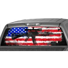 AMERICAN FLAG RIFLE Window Graphic Decal Print Sticker Truck Pickup ar15 m16 m15