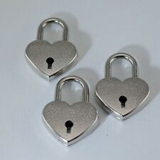 Old Vintage Antique Style Padlock Key Lock Heart Shaped (Silver Color ) Lot of 3