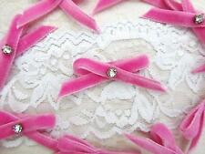 40 Pink Velvet Ribbon Bow Crystal Rhinestone Applique/Trim/Craft/Hand Made F98