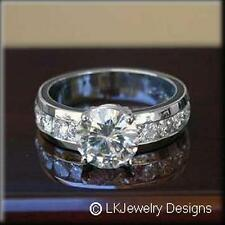 7.50 CT MOISSANITE ROUND  SOLITAIRE SEMI ETERNITY CHANNEL BAND ENGAGEMENT RING