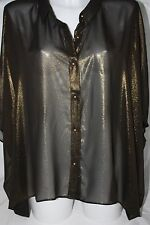 Elvi ~ BOX TOP ~ gold lame black blouse BNWT UK 26