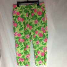 Lilly Pulitzer Cotton Blend Green/Pink Cropped Capri Pants Size 12
