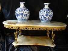 Antique French D End Marble Onyx Top Lower Onyx Shelf Cherub Centre Coffee Table