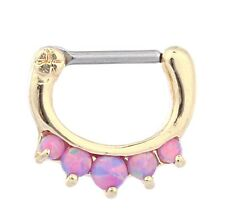 Opals Nose Ring Brass Septum Nose Hoop Ring Body Piercing Jewelry Nose Clicker