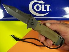 "COLT - Tan G-10 Spring Assist ""flipper"" HEAVY DUTY Tanto knife w/ Lanyard CT-708"