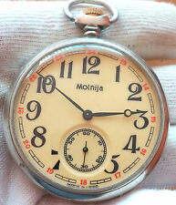 MOLNIJA  MECHANICAL  MEN'S OLD POCKET WATCH USSR 18JEWELS