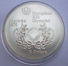 Canada 5 Dollars 1974 Silver coin UNC Olympic rings - Montreal Olympics 1976