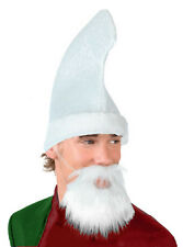 MENS ELF COSTUME KIT WHITE HAT & WHITE BEARD SANTAS HELPER CHRISTMAS FANCY DRESS