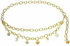 NEW JUICY COUTURE CHARM CHAIN GOLDTONE METAL BELT HEARTS STARS CROWN MSRP $98.00