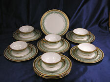 ANTIQUE LIMOGES JEAN POUYAT JPL 22-PC DESSERT SET GOLD ENCRUSTED  **