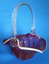 "Vintage Fenton Cranberry Glass Ruffled Basket - 8.5"" High"