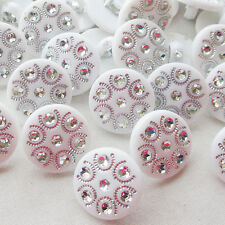 15mm White Round Plastic Button sewing accessory ornament craft Appliques