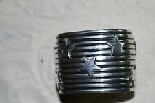 Sterling Silver Cuff Bracelet With Star Pattern by A. Cadman