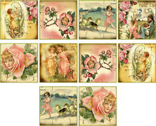 "10 vintage images of fairy angel 2"" cards with envelopes organza bag set 3"