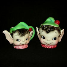 Vintage Lefton ESD PIXIE BOY CREAM & SUGAR - Condiment Jar and Creamer Set